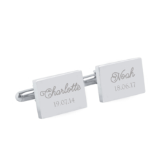 Engraved personalised silver cufflinks - My chilren - Fathers Day Gift
