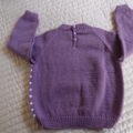 SIZE 4 -5 :Hand knitted jumper in light purple and white: Unisex, washable, OOAK