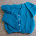 SIZE 4-5 :Hand knitted cardigan in Acqua & beanie : Unisex, washable, OOAK