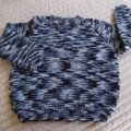SIZE 4 -5 :Hand knitted jumper in Greys and black : washable, boy