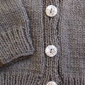 SIZE 3-4 :Hand knitted cardigan in fawn: Boy, washable