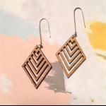 Bamboo diamond slice dangle earrings