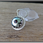 IN ORBIT, STERLING SILVER & GLASS CABOCHON BROOCH
