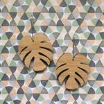 Laser cut bamboo Monstera Leaf drop earrings