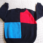 SIZE 4 -5 :Hand knitted jumper in Black, blue & Red : Unisex, washable, OOAK