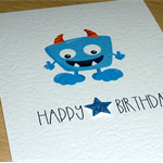 Boys or Girls Happy Birthday card - blue monster