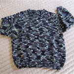 SIZE 4 -5 :Hand knitted jumper in multi colour: Unisex, washable, OOAK