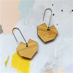 Laser cut bamboo geometric heart earrings