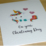 Christening Day card - rainbow unicorn