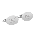 Engraved personalised oval cufflinks - Dad Est - Fathers Day gift