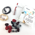 Make it yourself necklace kit-handcrafted polymer clay beads- Red, black, white