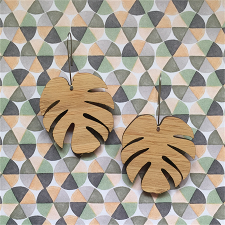 Laser cut bamboo Monstera Leaf drop earrings