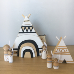 Hand painted wooden TeePee WHITE with rainbow door.