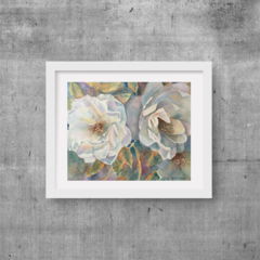 """White Roses, Print, 8' x 10"""" Watercolour, Roses, Flowers, Floral Art"""