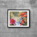 """Koi Fish, Water Lily, PRINT, Watercolour Painting -  10""""x8"""" Pond painting"""
