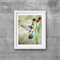 "Humming Bird, Print, 8' x 10"" Watercolour, Birds, Australian flowers"