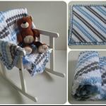 Blue, Grey & White Newborn Hand Crocheted Baby Blanket