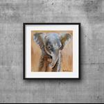 "Baby Elephant, Wall art PRINT, watercolour painting 8x8"" Kids prints, Nursery"