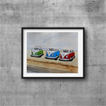 "Kombi Vans, Vintage Cars, Watercolour Painting, PRINT, 10""x8"" Art"
