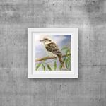 "Kookaburra, Print, 8"" x 8"" Watercolour, Kookaburra painting"