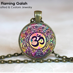 MANDALA OM Pendant / Key Ring.  Bronze or Silver