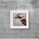 "Baby Kookaburra, Australian Animals, PRINT 8""x8"",  Watercolour painting, Nursery"