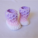 Pink / Purple Gradient Crocodile Stitch Baby Booties