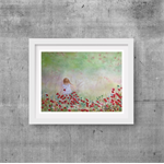 "Fields of Flowers  Girl- Watercolour Painting PRINT - Paintings Prints 10""x8"""