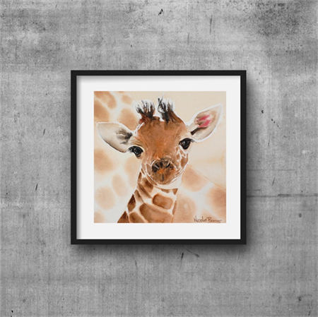 "Baby Giraffe - Wall Art, PRINT, Watercolour Painting 8""x8"" Kids prints, Nursery"