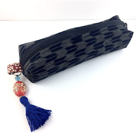 Kimono fabric makeup bag/pouch with beaded tassel- indigo blue and white chevron