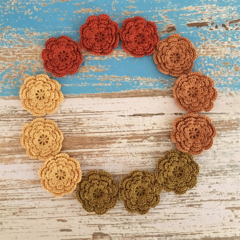 Handmade crochet flowers, pack of 4, earthy, rustic, sewing, appliqué, craft