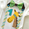 First Birthday Animal Jungle Theme Number 1Giraffe Bow Tie & Suspenders Bodysuit