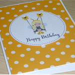 Girls Happy Birthday card - girl on swing