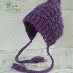Vintage Purple Hand Crocheted Newborn Baby Bonnet Photo Prop