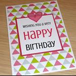 Female Happy Birthday card - pink & Green