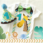 Birthday Jungle Animal Theme Onesie and Party Hat 1st Birthday Boys