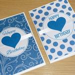 Set 2 Female Happy Birthday cards -  blue hearts