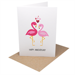 Wedding Anniversary Card - Pink Flamingos with Hearts - HWA016