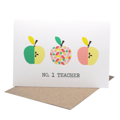 Teacher Card - Geometric Pink and Green Apples - TEA004 - No. 1 Teacher