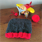 Hand knitted grey toddler beanie with flying wedge detail and red trim | Chunky