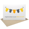 Unisex New Baby Card - Yellow and Grey Baby Clothes on a Clothesline - BBY006