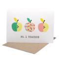 No. 1 Teacher Card, Thank You Teacher Card, Geometric Apples, TEA004