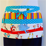 Teacher daycare preschool vendor craft half apron with 6 pockets - Dr Seuss