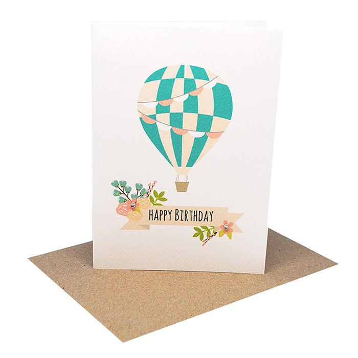 Birthday card girl hot air balloon with floral banner hbc232 bookmarktalkfo Image collections
