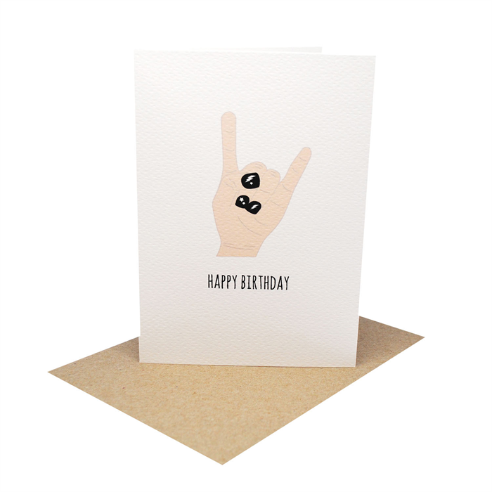 Birthday Card Girl Rock On With Black Nail Polish Hbc239 Mum