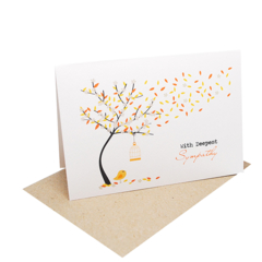 Sympathy Card - With Deepest Sympathy - Orange Autumn Tree - WDS017