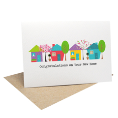 Moving House Card - 4 Houses with Trees - MOV009