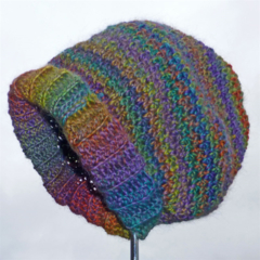 SALE:Slouchy beanie hat crochet in variegated wool, extra soft. Adult.  one only