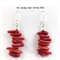 Red coral beaded earrings with 925 sterling silver hooks
