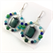 Lapis, Jade and Turquoise hoop earrings with 925 sterling silver hooks
